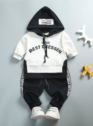 Cotton Kids Toddler Clothes Letter Hooded Suit