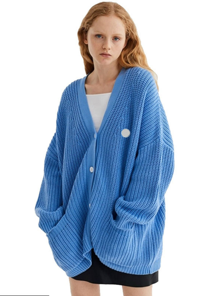 Sweater Blue Single-breasted Sweater Coat Letter Print