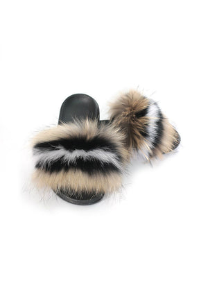 Flops Casual Raccon Fur Sandals Furry Fluffy Plush Shoes