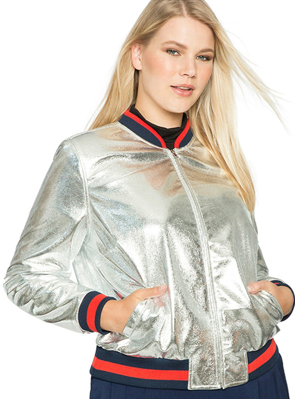 Casual Solid Metallic Basic Jacket Long Sleeve