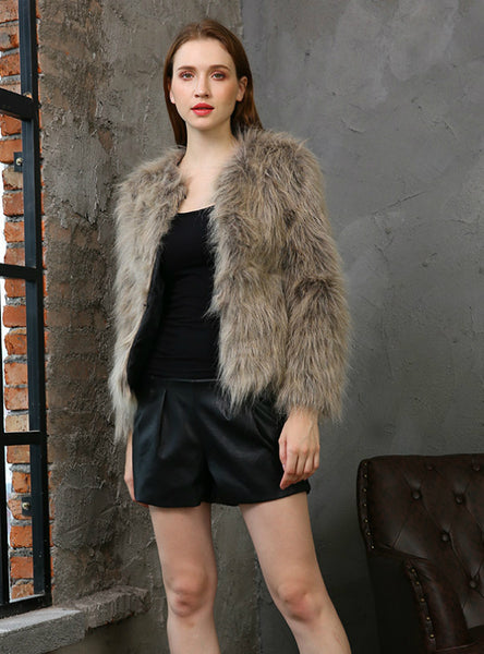 Women Brown Fur Like Short Ladies' Fur