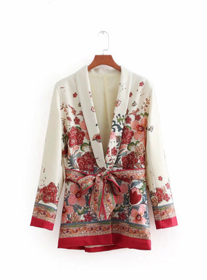 Red Floral Print Kimono Suit Jacket Ladies Waist Bowknot