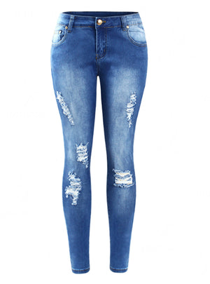 Denim Skinny Distressed Jeans For Women