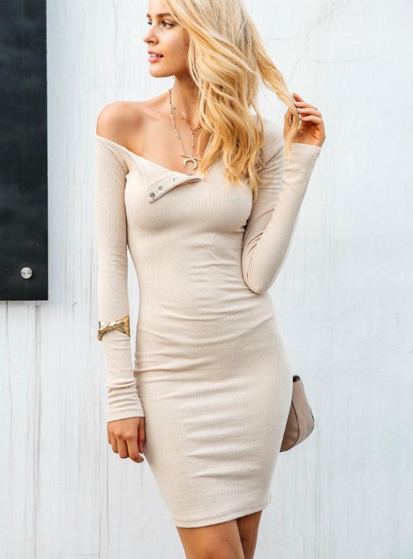 Women Long Sleeve One Shoulder Sexy Bodycon Dress
