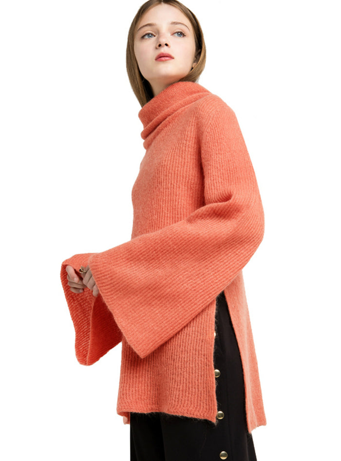 Sweaters Orange Turtleneck Long Sleeve Sweater