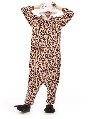 Women Onesie Leopard Kitty Cat Pajama Adult Sleep