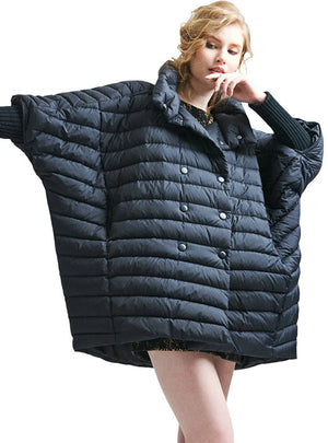 Women's Down Jackets Cloak Double Breasted Bat