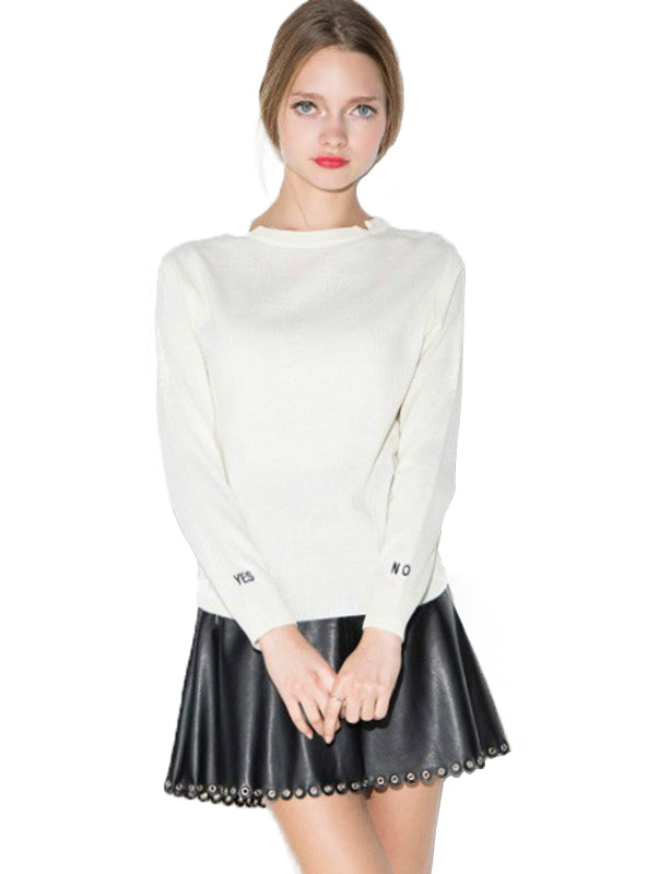 White Casual Slim Basic Female Sweater Letter Print