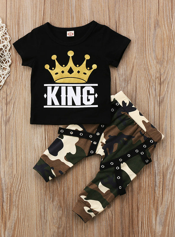 Boys Tops T-shirt Camo Pants Outfits Clothes
