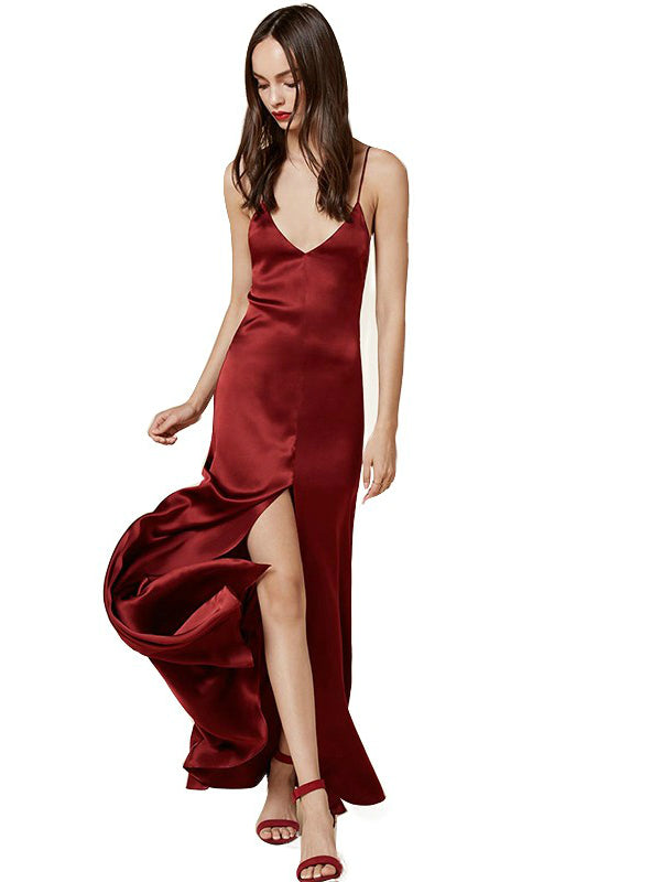 V-Neck Spaghetti Strap Backless Maxi Dress