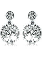 925 Sterling Silver Tree of Life AAA Zircon Drop