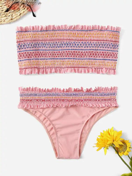 Women Pink Bandeau Pleated Smocked Bikini Set