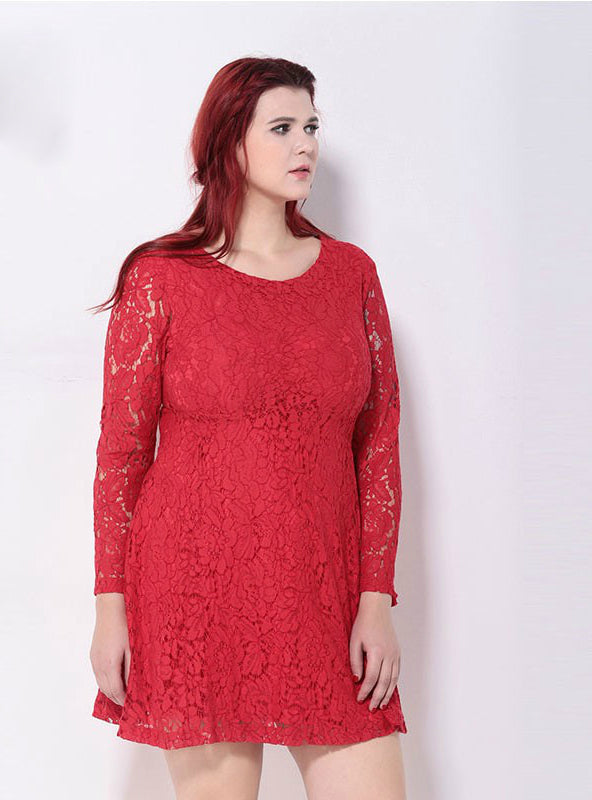 Long Sleeve Lace Elegant Big Size Cocktail Dress