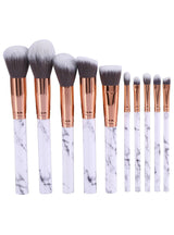 10Pcs Marbling Makeup Brushes Set Powder Foundation