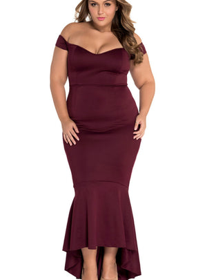 Off-shoulder Mermaid Jersey Maxi Dress