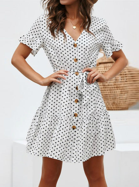 Women Polka Dot Bandage A-Line Party Dress