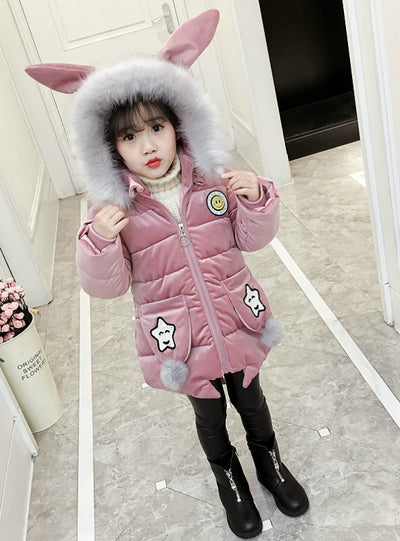 Velvet Padded Cotton-Padded Jacket For Children