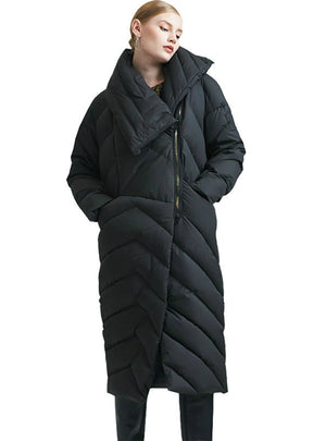 Zipper Asymmetric Long Down Jacket Warm Snow Coat