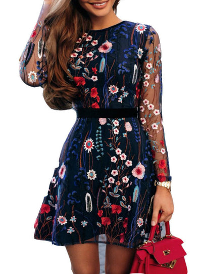 Women Floral Embroidery Dress O Neck Long Sleeve
