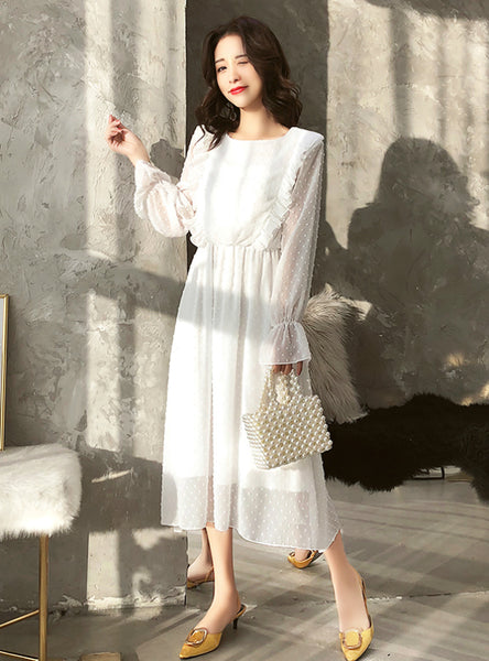 Ruffles Polka Dot Women Chiffon Dress