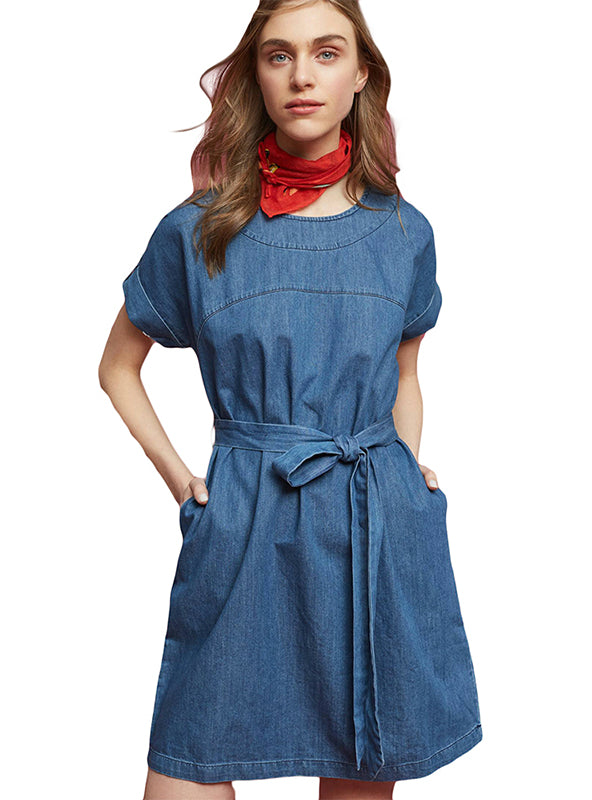 Short Sleeve Sashes Brief Pockets Denim Blue