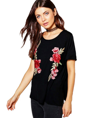 Embroidery T-shirt Women Casual O-neck Floral Print