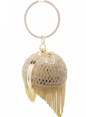 Golden Diamond Tassel Women Party Metal Crystal Clutches