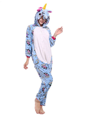 Blue Fly Unicorns Kigurumi Onesie Adult Women Pajama