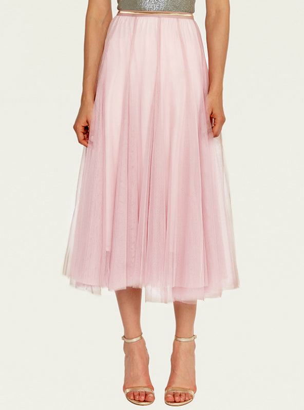 A-Shaped Gauze Skirt Tea-Length Dress