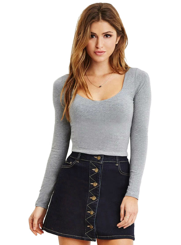 Long Sleeve Crew Neck Pullovers Crop T-shirt