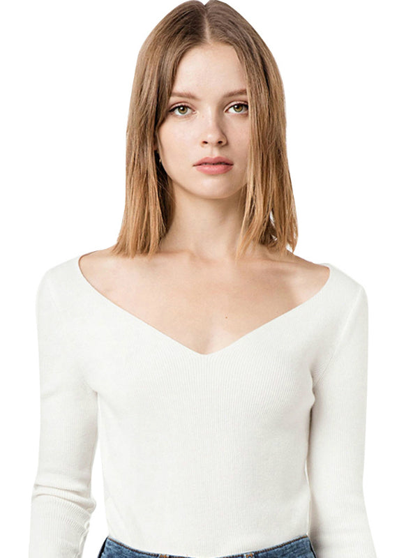 V Neck Knitted Female Sweater Solid White Long Sleeve
