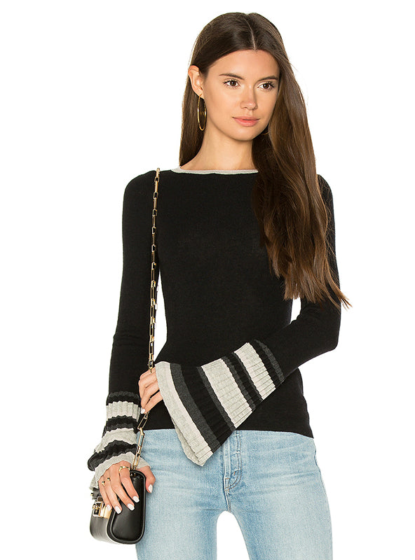 Black Sweater Women Color Block Fashion Casual Elegant