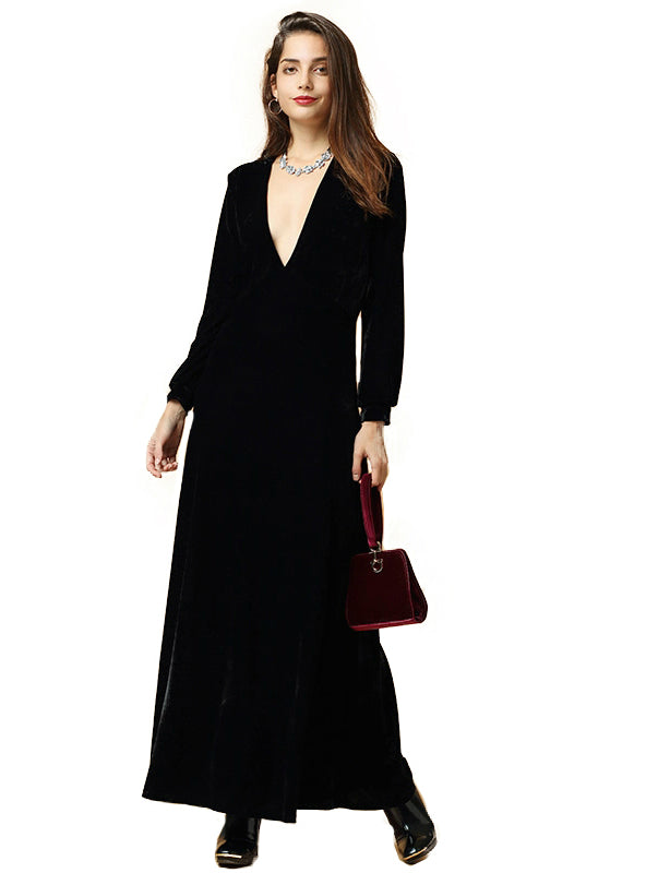Black Velvet Long Sleeved Maxi Dress Party Dress