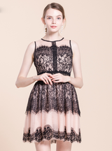O-Neck Hollow Out Waist A-line Lace Vintage Dresses