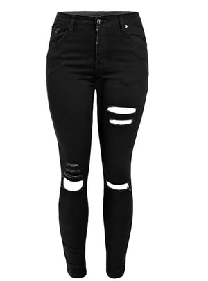 Black Destroyed Skinny Denim Pants Trousers