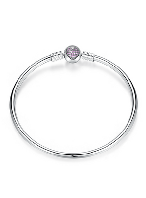 925 Sterling Silver Snake Chain Heart Bangle & Bracelet