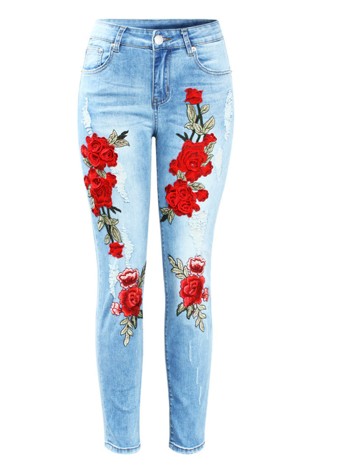 3D Embroidery Flowers Woman Denim Pants