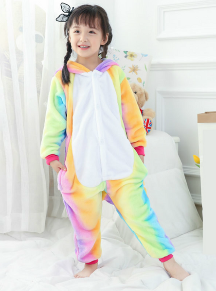 Kids Rainbow Unicorn Onesie Pajama Animal Cartoon