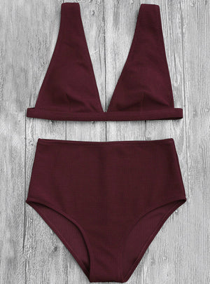 Women High Waisted Textured Plunge Bikini Set