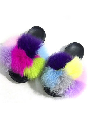 Women Winter Fluffy Fur Slippers Real Fox Fur