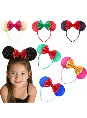 Cute mouse Ears Hair Bands Hoop rose flower Hairband