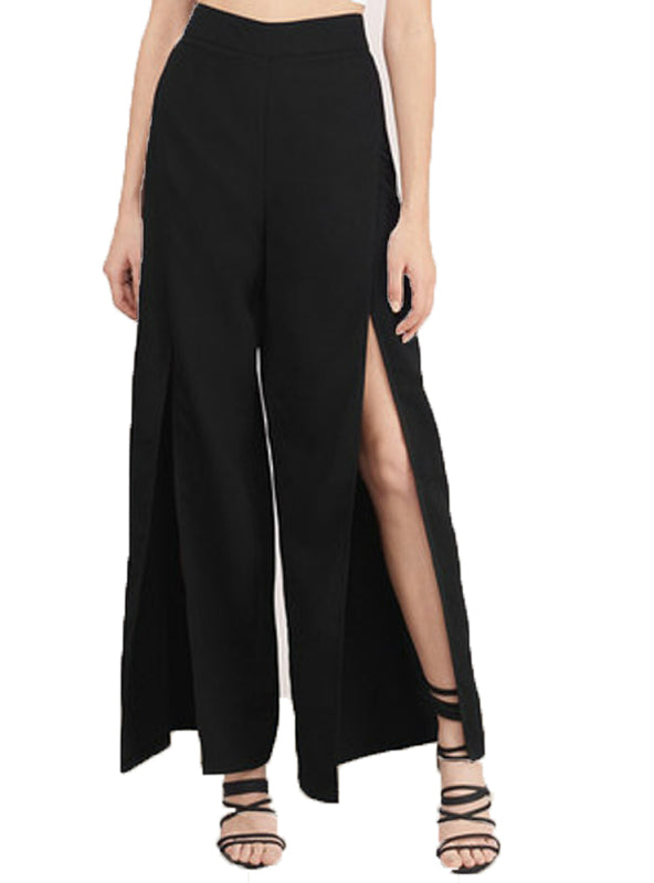 Solid Black Women Elegant Pants Split Side
