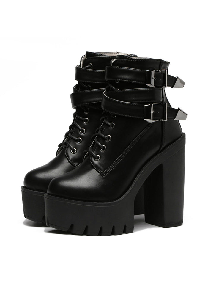 High Heels Platform Buckle Lace Up Leather