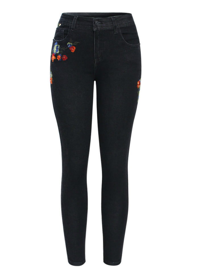 Mid Waist Stretchy Denim Pants Trousers