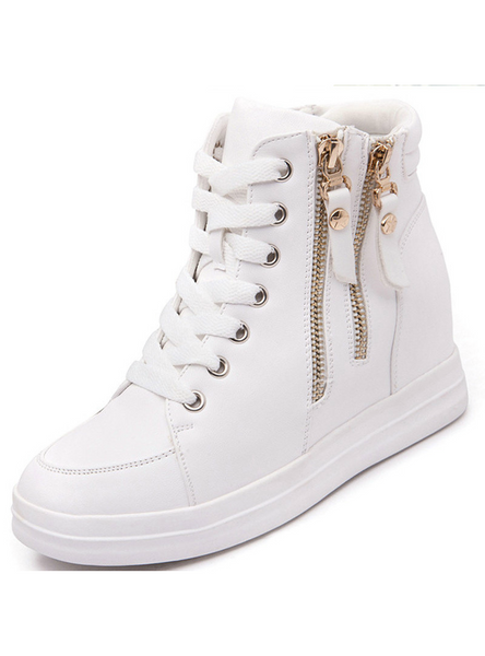 Leather Ladies High Top Heighten Shoes Warm