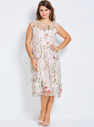 Floral Embroidery Summer Party Gown Large Size Dress