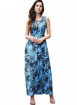 Vintage Dress Summer Round Neck Casual Maxi Dress