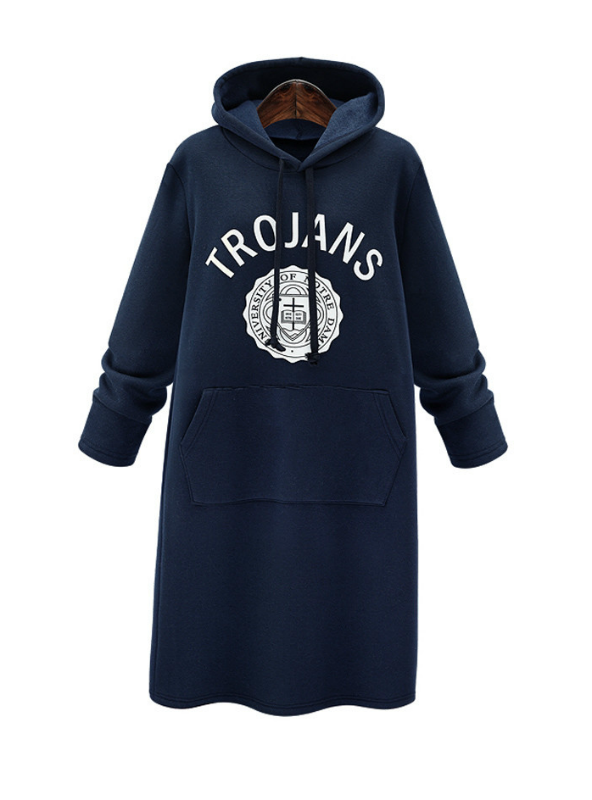 Hoodies Slim Plus Thick Velvet Sweatshirt Dress