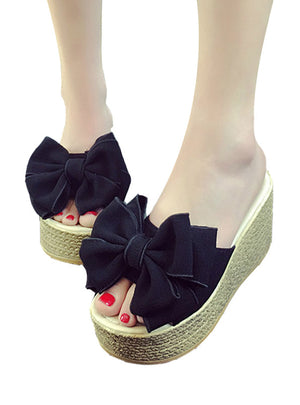 Ladies Slippers For Family Butterfly-knot Women Shoes