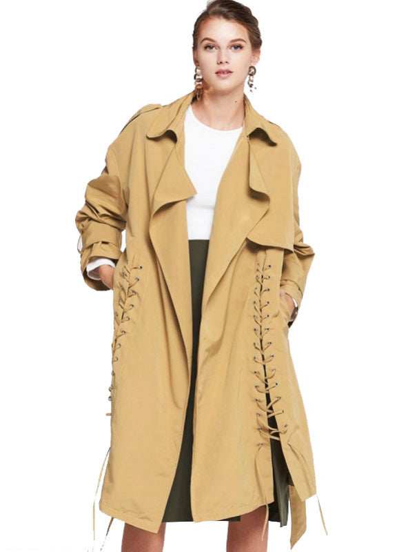 Lace-Up Trench Coat Women Long Trench Coats